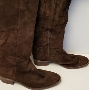 NINE WEST LEATHER SUEDE chocolate BROWN TALL BOOTS